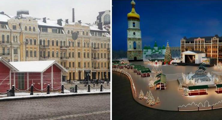 На Софиевской площади начался монтаж рождественского городка
