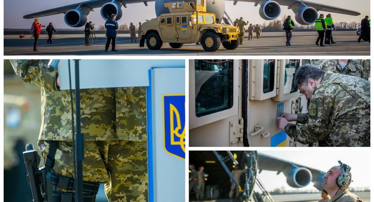 Порошенко с пистолетом встречал самолет-гигант с Humvee. Фоторепортаж