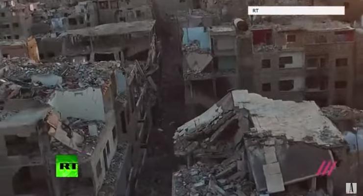 Разрушенный пригород Дамаска сняли с беспилотника
