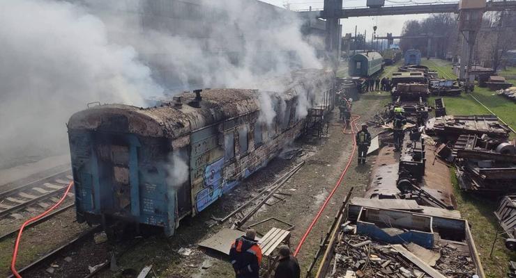 """На киевской станции """"Борщаговка"""" сгорел вагон поезда"""