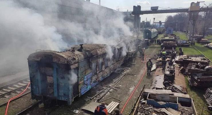 В Киеве горел железнодорожный вагон